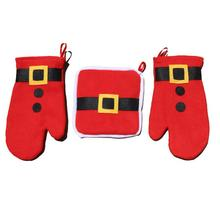 1 Set Slip-resistant Christmas microwave heat oven insulation pad burn proof gloves decoration Home Furnishing Supplies