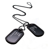 Fashion Designer Men Military Army Style Black 2 Dog Tags Chain Beads Pendant Necklace Jewelry Wholesale --3221