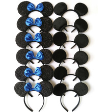 12pcs Hair Accessories  Minnie/Mickey Ears Headbands Black & Sapphire Sequins Bow Boy and Girl Headwear for Birthday Party