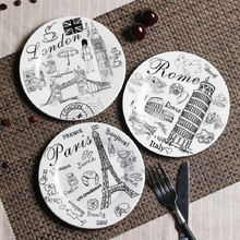 Ceramic Plates Creative Painting 6*inch Dinnerware Flat Plates Dishes Pastry Cake Tray Party Plate Buffet Dishes Fruit Dish