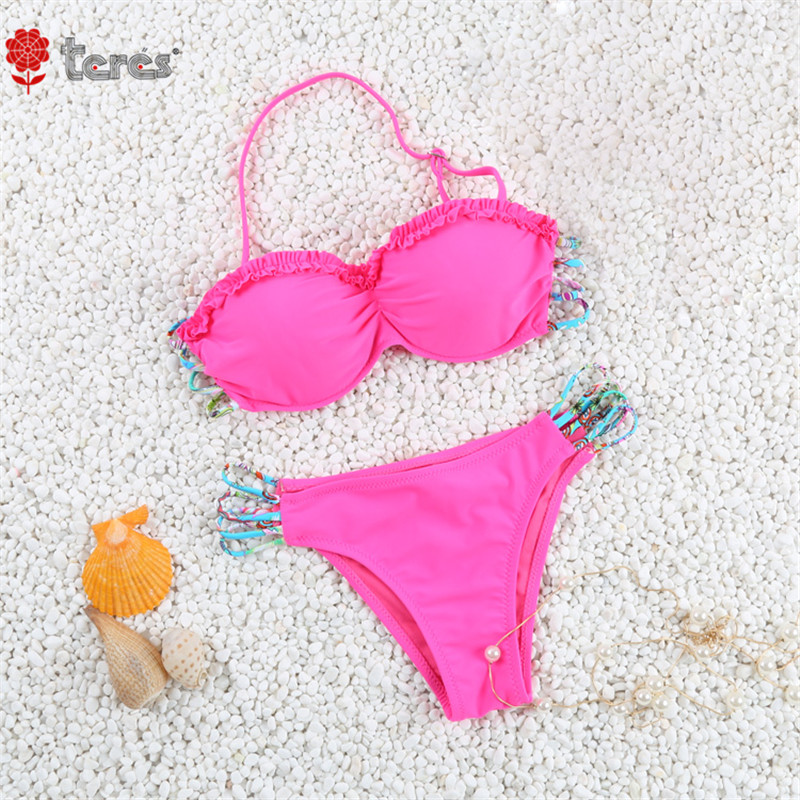 2017 Halter Top Lovely Solid Bikini Set Swimsuit Bathing Suit Swimwear Women Female Brazilian Bikini Beach Wear Biquini FA-81615<br><br>Aliexpress
