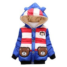 2016 Children Jackets Baby Outwear Cartoon Bear Toddler Fleece Hoodies for Boys Winter Girls Clothes Cute Kids Warm Coat