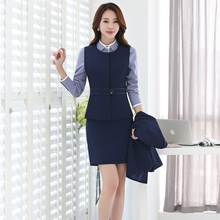 Two Piece Sets Women Business Suits with Skirt and Top Sets Ladies Dark blue Waistcoat & Vest Office Uniform Designs