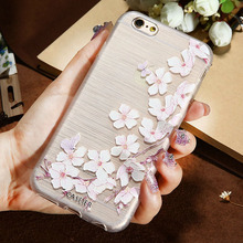CASEIER 3D Art Print Case For iPhone 7 5 Plus iPhone 6 6s Plus TPU Cover Flower Relief Phone Cases For iPhone 7 Coque Cover(China)