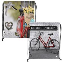 4Pcs Vintage Bicycle Print Custom Individual Outdoor Beach Gym Swimming Clothing Shoes Towel Storage Bag Drawstring Backpack