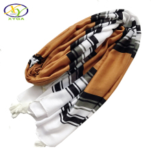 1PC 2018 Women Scarf Ethnic Strped Printed Soft Acrylic Cotton Scarves Long Woman Cotton Viscose Lady Pashminas Shawl Wrap(China)
