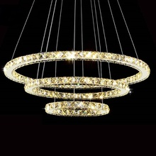 Modern LED Diamond Ring Chandeliers Chrome Mirror Finish Stainless Steel Room Hanging Lamp LED Chandelier Lustres(China)