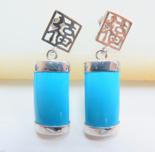 Wholesale price 16new ^^^^FINE Sterling 925 Silver & Blue Chalcedony Earrings