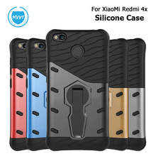 For XiaoMi Redmi 4x Silicone Armor Case Soft TPU Back Cover With Hard Stand Mobile Phone Protective Case For XiaoMi Redmi 4x(China)