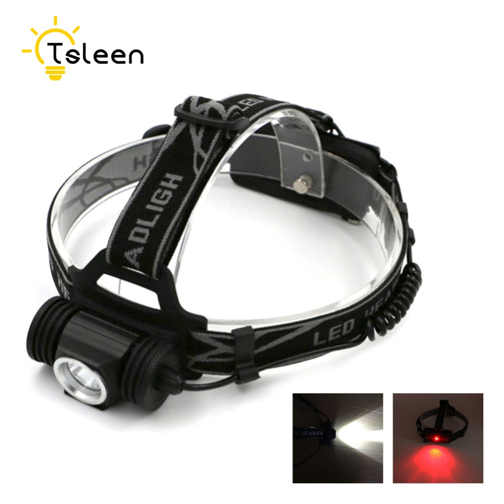 TSLEEN led headlamp Night Cycling Fishing 1000LM LED Head Torch Bike Lamp 18650 Cell Operated +Red Signal Light lampe frontale(China)