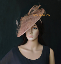 2017 NEW 17 colours Brown coffee big Sinamay fascinator hat.