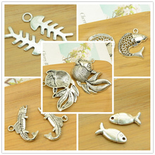 fish/fishbone/shark/goldfish alloy charm antique silver pendant sea animal ocean diy jewerly finding accessories free shipping