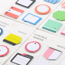 90Pcs/Pack Korean Fashion Schedule Marker 4 Design Sticker Post It N Times Irregular Memo Pad Sticky School Label Gift E0058