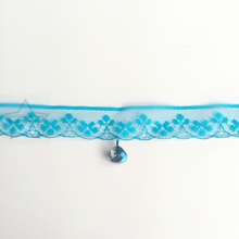 Handmade 10MM Glass Crystal & 1.8CM Lack Blue Chemical Lace & Stainless Steel Jewelry Choker Necklaces(China)