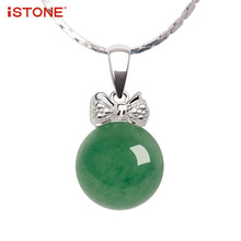 iSTONE Natural Gemstone Pendant Round Green Jade/Quartzite Pendant Necklaces With 925 Sterling Silver Chain GemJewelry for Woman(China)