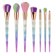 Mileegirl 7Pcs Diamond Makeup Brushes Fantasy Set Rainbow Hair Foundation Contour Powder Cleaner Brush Kabuki Beauty Brush Kits
