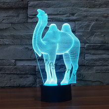 Night Light lava lamp Camel Animal 3D Light Children decorate Visual Led Night Light Illusion Mood color changing Chrismast gift(China)