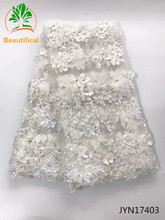 Beautifical White wedding lace fabric 3D flowers french African lace fabrics for dresses beads tulle lace Nigerian fabric JYN174(China)