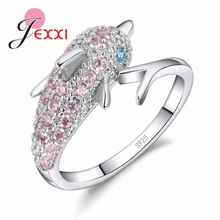 JEXXI Hot Sale 925 Sterling Silver Playful Dolphin Elegant Ring For Women Pink Rhinestone Rings Fine Jewelry Gift(China)