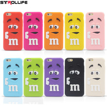 STROLLIFE cartoon M&M's chocolate candy rubber soft silicone cell phone case cover for iphone4 4S 5 5S 6 6S 4.7inch(China)