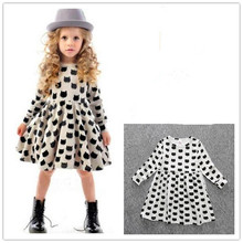 DOZ304 Girl autumn dress children black cat with long sleeve clothes kids casual cotton dot clothes autumn princess girl dresses(China)