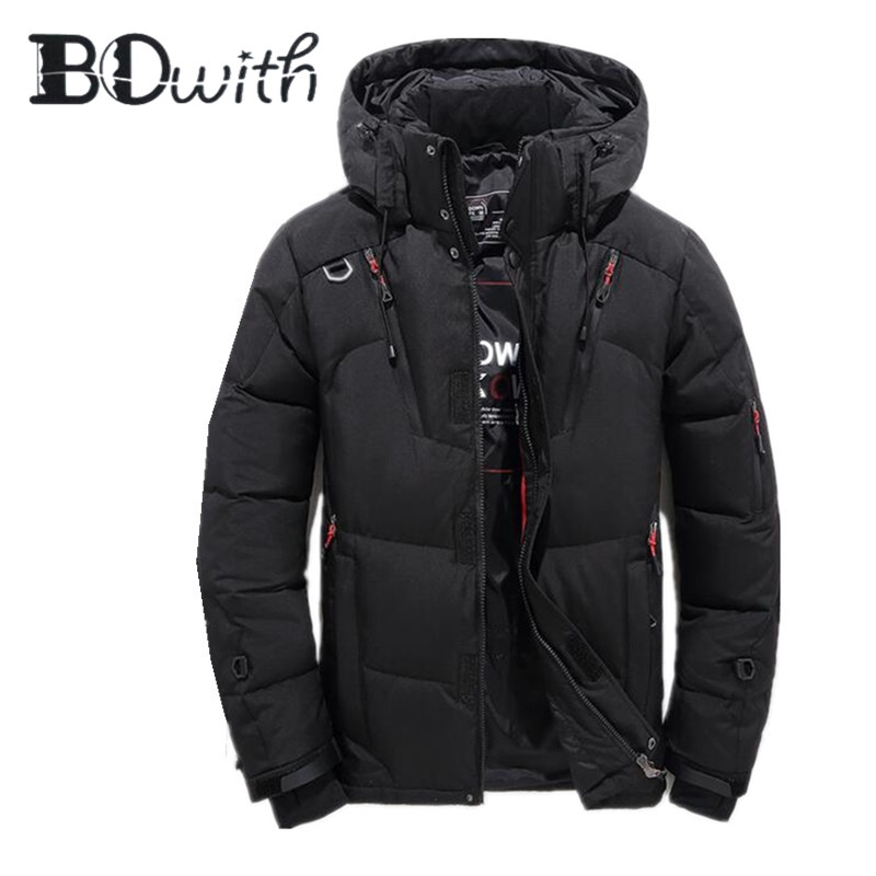 2019 New Winter Warm Men Coat White Duck Down Jacket for Men Lightweight Black Winter Protection Jacket for Outdoor Sports