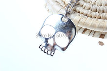 Wholesale-New~antique silver skull necklace jewelry skull head necklace