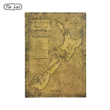 TIE LER Poster Vintage Home Decor New Zealand Mysterious Old Map Retro Poster Kraft Paper Wall Sticker 51.5X36cm