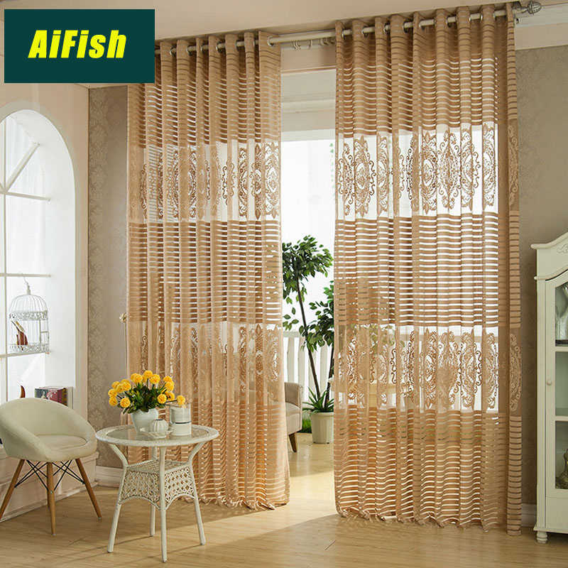Modern White Horizontal Stripes Hollow tull Curtains Breathable Jacquard Tulle On The Window Bedroom Balcony Living Room WP098&3