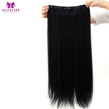 Neverland 60cm 5Clips One Piece #1B Natural Black Straight Synthetic Heat Resistant Hair Pad Hairpiece Clip in Hair Extensions(China)