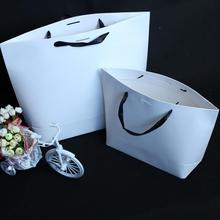 100PCS/LOT White Paper Gift Bag Shopping Bag For Party Wedding Gift Print LOGO