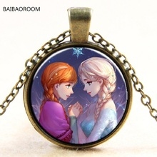 Princess ELSA Anna silver coated glass pendant necklace popular in Europe and America