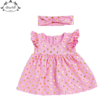 Cute Baby Girls Dress Ruffle Sleeve Smock Girls Dress Outfit  Gold Polka Dots Kids Birthday Dress with Headband  Toddler Dresses