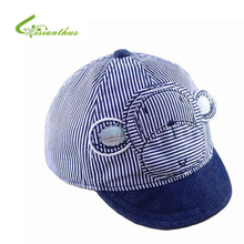 Spring Summer Baby Caps Cotton Infant Hats Cute Monkey Casual Striped Soft Eaves Baseball Cap Baby Boy Beret Baby Girls Sun Hat