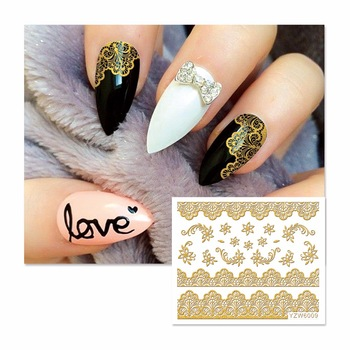 YZWLE 1 Sheet 3D Nail Stickers Beauty Hot Gold Lace Flowers Designs Decals Decoration 6009