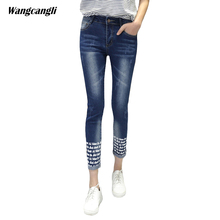 jeans women rivet elasticity cowby Trousers Decorative Letter Text female fashion thigh Tightly thin Pattern 3XL 5XL wangcangli