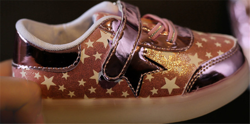 Children Shoes With Light Up 17 Star Printed Unisex Led Light Kids Baby Girls Boys luminate Sneakers Size 21-30 10