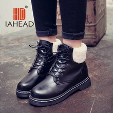 IAHEAD Women Shoes Spring Boots   Russia Female  Boots women ankle lace-up Shoes Fashion Casual shoes  Boot UPB07