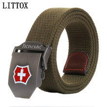 LITTOX men's canvas belt red cross buckle Revolution military belt Army tactical belts for Male top quality men strap