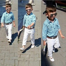 DTZ286 New Fashion Boys Clothing Set Children Cotton loose-fitting plaid shirt + Trousers + Belt 3 pcs. Mignon Kids clothes set