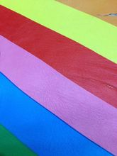Rainbow Color Stripe Genuine Goat  Leather Fabric for shoes/purse/tote,Free Shipping