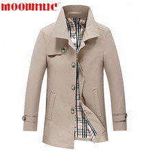 Windbreaker Men's Fashion Coat Medium Length Autumn Solid Color Casual Trench Business Slim Fit Overcoat PLus Size Brand MOOWNUC