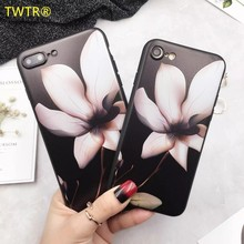 TWTR Full Of Charm Black Roses Lotus Flowers Phone Case For Apple iphone 6 6s 6 Plus 6s Plus 7 7 Plus Scrub TPU Soft Back Cover