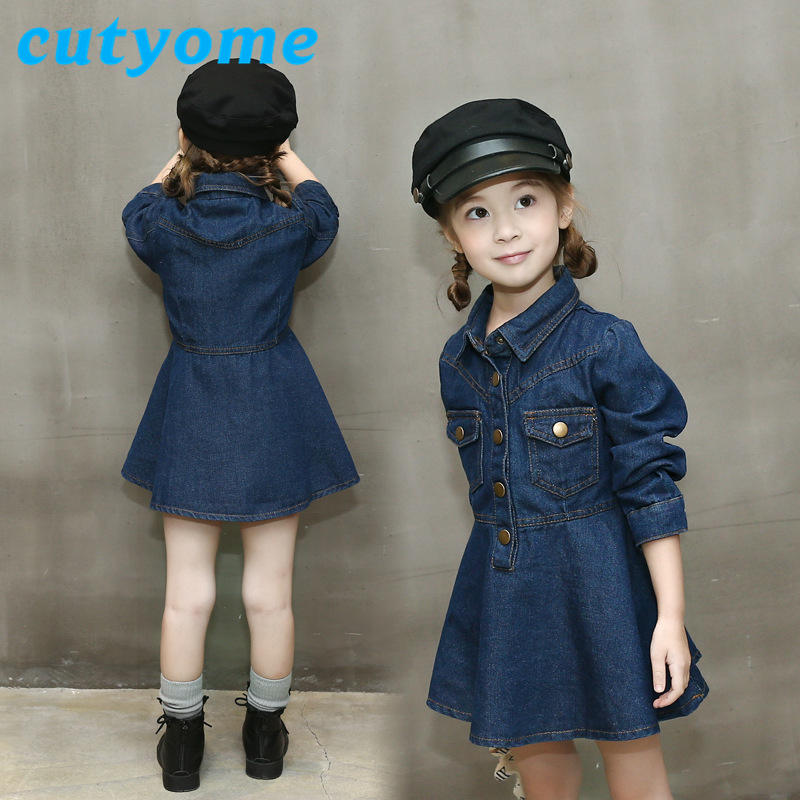 Cutyome Baby Girls Denim Dress Jackets Spring Autumn Pullovers Fashion Jeans Dresses with Pockets 2017 Fashion Children Clothing<br>