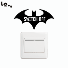 Cartoon Batman Silhouette Switch Sticker Creative Batman SWITCH OFF Save Electricity Wall Stickers Home Decor(China)