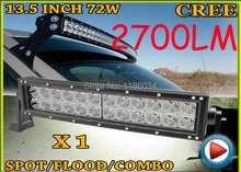 Free UPS ship!1pcs/set,13.5inch 72W 2700LM Curved,10~30V,6500K,LED working bar,Boat,Bridge,Truck,SUV Offroad car,black!