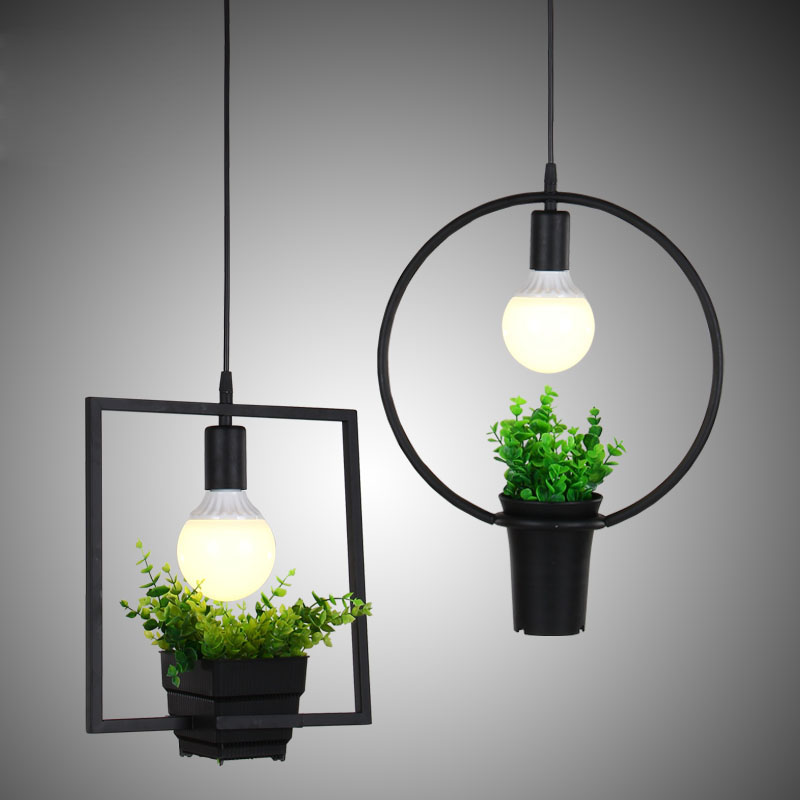 Iron vintage industrial chandelier Nordic simplicity single small meal hanging chandelier creative personality Pot Plants lights<br>
