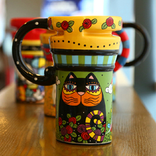 Painted Ceramic Cups, Creative Fashion Lidded Mug Spoon, Coffee Cup Lovers Cup Large Capacity, Free Shipping(China)