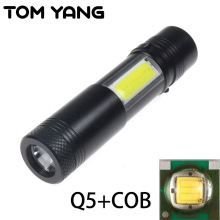 COB Penlight Zaklamp Cree LED Light Portable Cree Q5 LED Flashlight 4 Mode Focus Torch Portable Strobe Lamp Lantern Use AA/14500