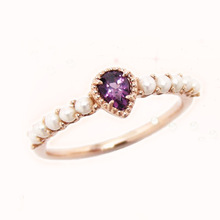 Natural Purple Amethyst White Pearl Luxury 925 Sterling Silver Ring(China)